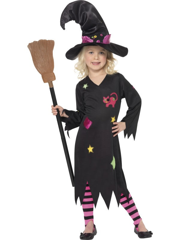 Cinder Witch Costume, Black, with Dress, Hat & Tights