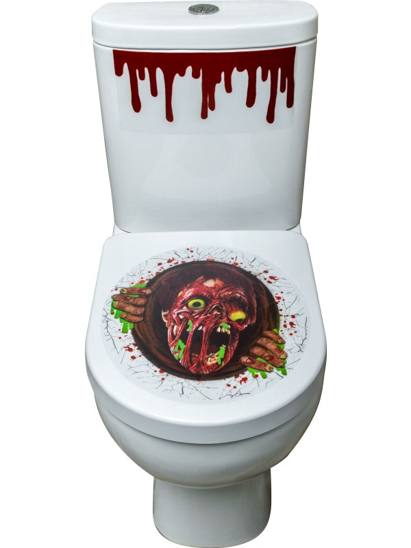 Zombie Portal Toilet Seat Stickers, Red, Blood Cistern & Base Stickers, 41x48cm / 16x19in