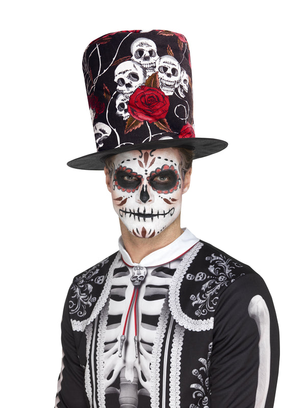 Day of the Dead schedel & Rose Top Hat