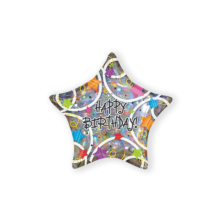 Folieballon happy birthday stars (45cm)