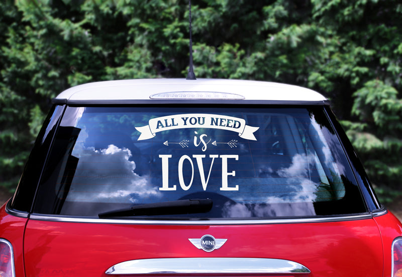 """Wedding day car sticker - All you need is love, 33x45cm"""