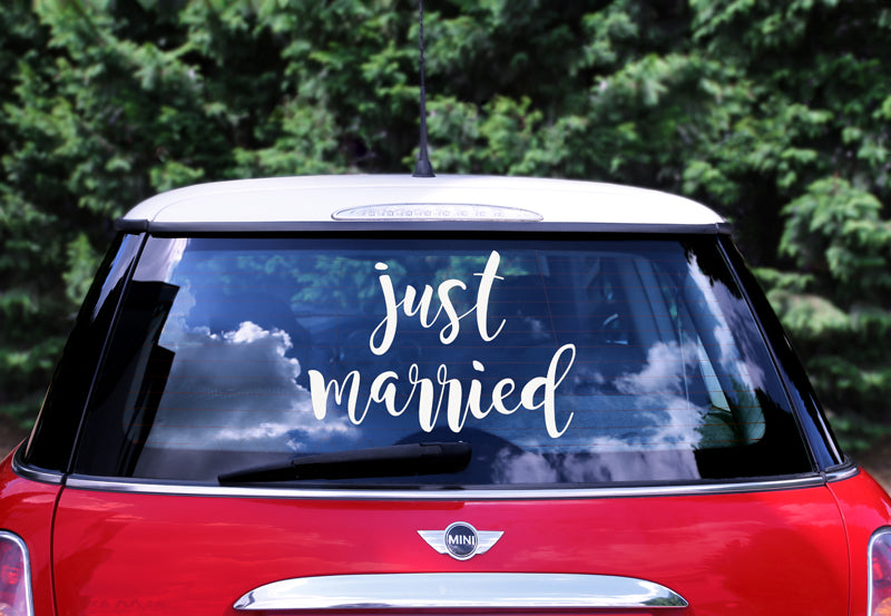 """Wedding day car sticker - Just married, 33x45cm"""