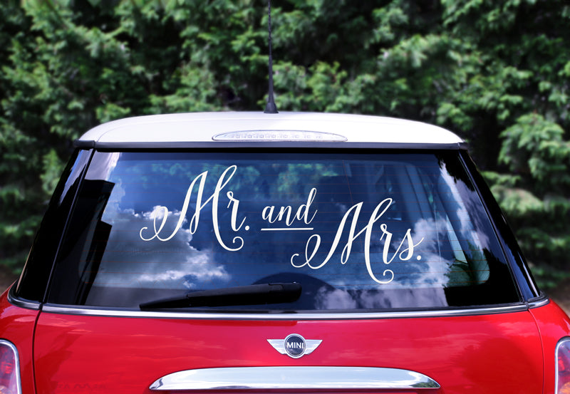 """Wedding day car sticker - Mr. and Mrs."""