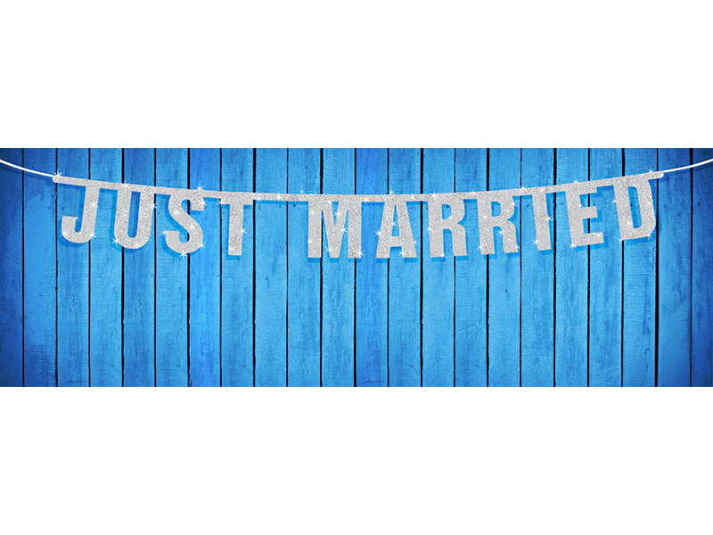 """Banner Just Married, zilver, 18 x 170cm"""