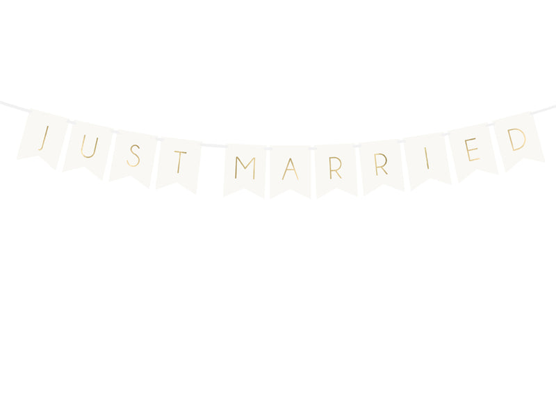 """Banner Just Married, wit, 15 x 155 cm"""