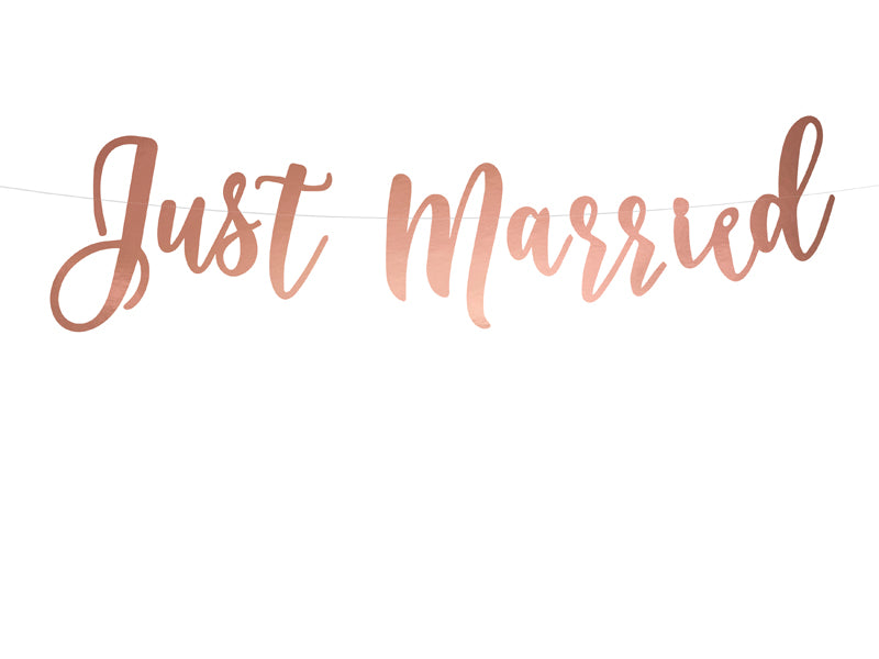 """Banner Just Married, rose goud, 20x77cm"""