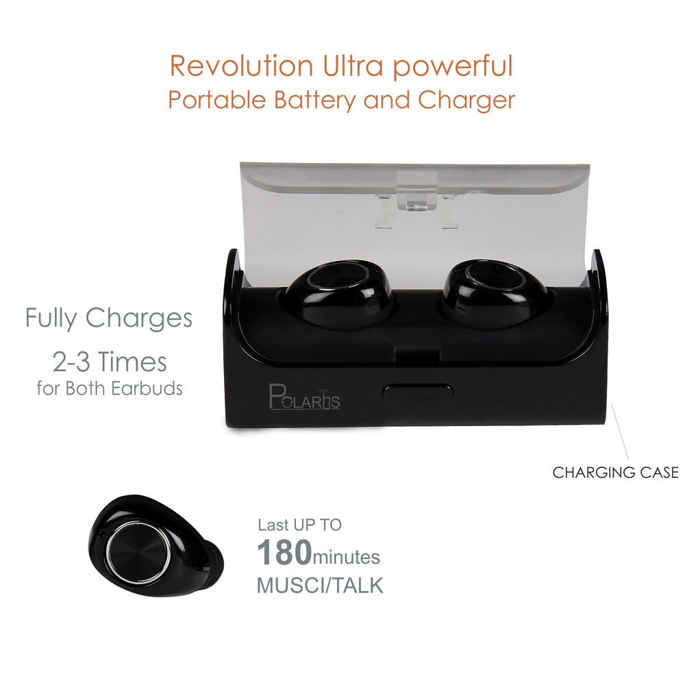 Polaris Dual Wireless Bluetooth Earbuds with 12 hours Charging Case