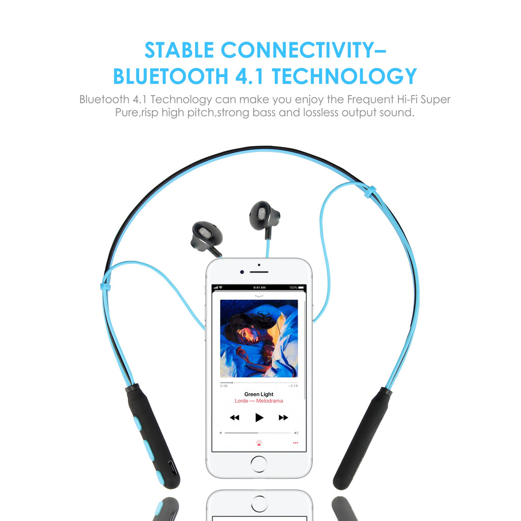 Polaris Blue Neckband Wireless Magnetic Earphones with Mic