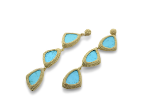 Tri-Turquoise crochet earrings