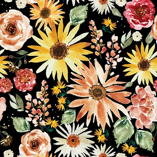 IB Watercolour Floral - Sunflower Parade Black 105