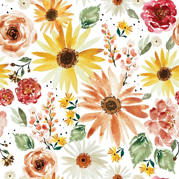 IB Watercolour Floral - Sunflower Parade White 108