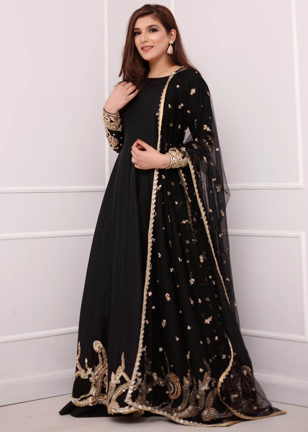Black Embellished Long Frock