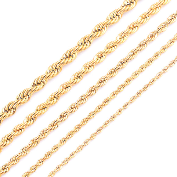 High Quality Gold Plating Rope Chain Stainless Steel Necklace For Women Men Gold Fashion Rope Chain Jewelry Gift - JMOOREKNOWSBEST