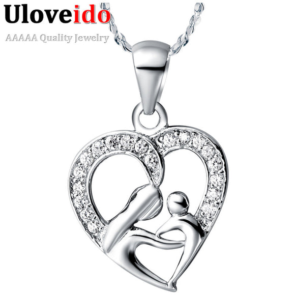 2018 Mothers Day Gifts for Mom Heart Pendants Zirconium Female Pendant Suspension Necklace for Women Vintage Retro Jewelry N595 - JMOOREKNOWSBEST
