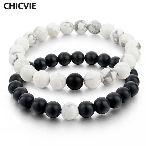 CHICVIE Black and White Natural Stone Distance Bracelets for Women Men Strand Bracelets & Bangles Lovers Gifts Jewelry SBR160101 - JMOOREKNOWSBEST