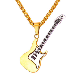 U7 Guitar Necklace For Men/Women Music Lover Gift Black/Gold Color Stainless Steel Pendant & Chain Hip Hop Rock Jewelry P810 - JMOOREKNOWSBEST
