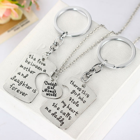 Dad Daughter Mother Pendant Necklace 3pcs Keychain Family Mother's Day Father's Day Keyring Gift Jewelry Father Mom Necklaces - JMOOREKNOWSBEST