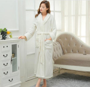 Long Bathrobe Home Wear Clothes Dressing Gown Women's Bathrobe Coat Female Flannel Nightdress Women Warm Bath Robes E1026 - JMOOREKNOWSBEST