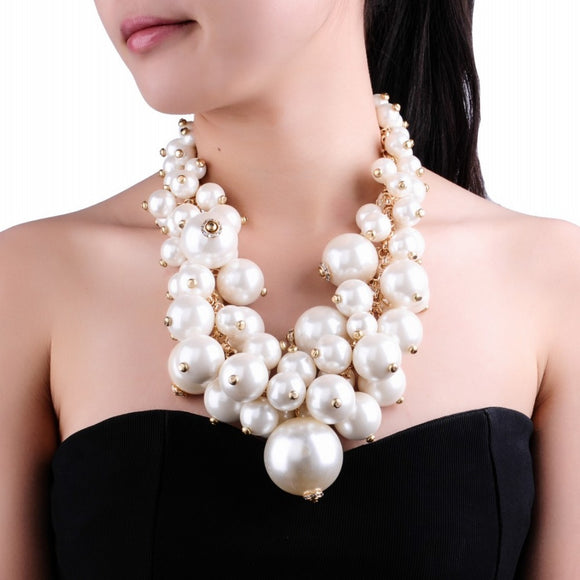 Fashion Gold Chain White Pearl Beads Cluster Choker Bib Pendant Necklace Perfect Party Valentine's Wedding Gift - JMOOREKNOWSBEST