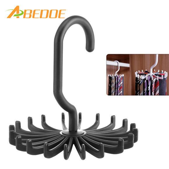 ABEDOE 1pcs Plastic Portable Tie Rack For Closets Rotating Ties Hook Holder Belt Scarves Hanger For Men Women Clothing Organizer - JMOOREKNOWSBEST
