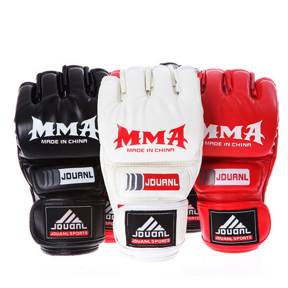 1 Pair Unisex Muay Thai Boxing Gloves for Gym Punching Bag PU Leather Fitness Half Mitt Training Sparring Kick Fighting Gloves - JMOOREKNOWSBEST