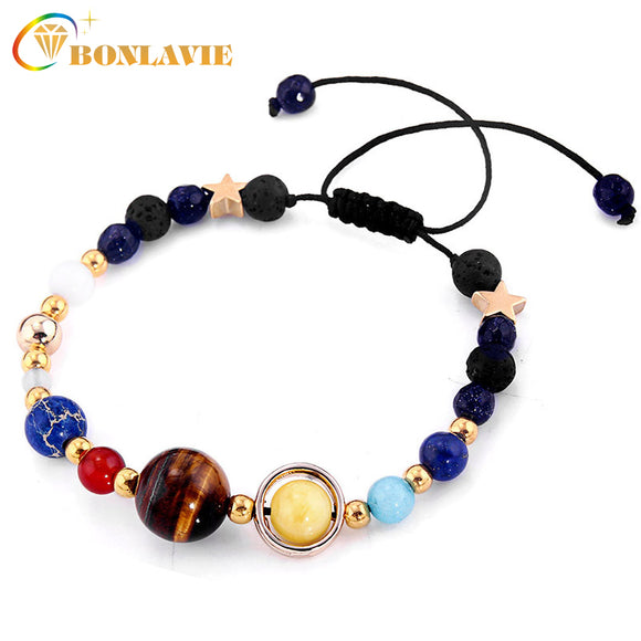 Fashion Universe Galaxy the Eight Planets Solar System Guardian Star Natural Stone Beads Bracelet Bangle for Women Men Gift - JMOOREKNOWSBEST