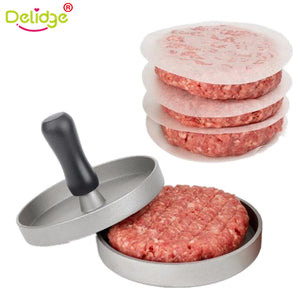 Delidge 1 Set Round Shape Hamburger Press Aluminum Alloy 11 cm Hamburger Meat Beef Grill Burger Press Patty Maker Mold - JMOOREKNOWSBEST