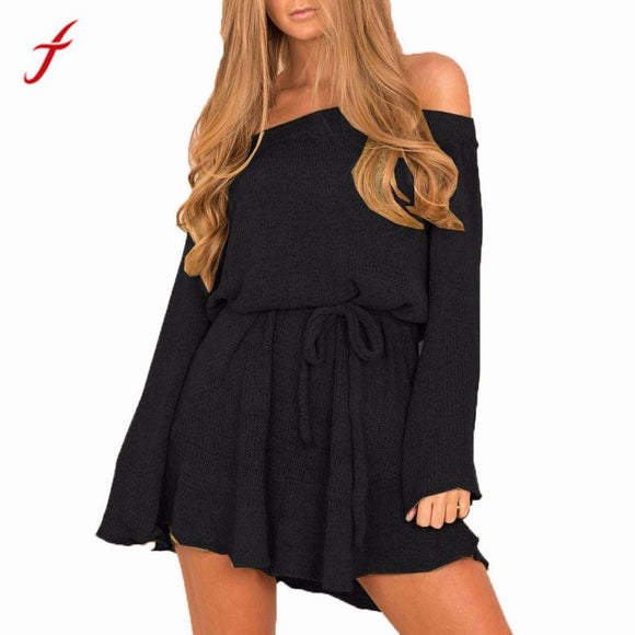 FEITONG Autumn Winter Jumper Dress Womens Ladies Long Sleeve Off Shoulder Casual Black Empire Loose knitted Dress with Slash - JMOOREKNOWSBEST