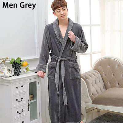 ... Lovers Long Warm Coral Fleece Winter Bathrobe Women Men Soft Flannel  Full Sleeve Kimono Bath Robe ... a1024a22a