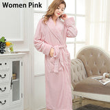 Lovers Long Warm Coral Fleece Winter Bathrobe Women Men Soft Flannel Full Sleeve Kimono Bath Robe Dressing Gown Bridesmaid Robes