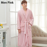 Lovers Long Warm Coral Fleece Winter Bathrobe Women Men Soft Flannel Full Sleeve Kimono Bath Robe Dressing Gown Bridesmaid Robes - JMOOREKNOWSBEST