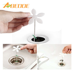 ABEDOE 2pcs/set Sink Cleaning Tools Flower Shape Pipeline Dredge Sink Clogged Hair Cleaner Hose Pipe Sewer Cleaner Kitchen Tools - JMOOREKNOWSBEST