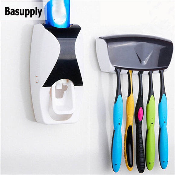 1Set Toothbrush Holder Automatic Toothpaste Dispenser Wall Mount Stand Toothpaste Squeezer Bathroom Accessories Set Dropshipping - JMOOREKNOWSBEST