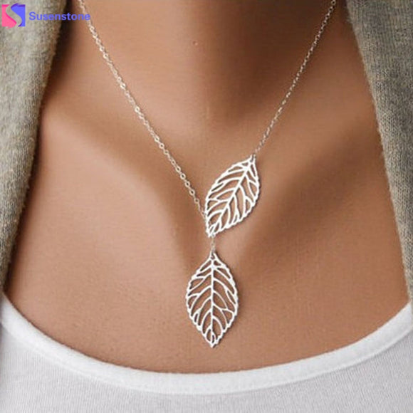 SUSENSTONE 1PC Womens Girls Simple Metal Double Leaf Pendant Alloy Choker Necklace 30 - JMOOREKNOWSBEST
