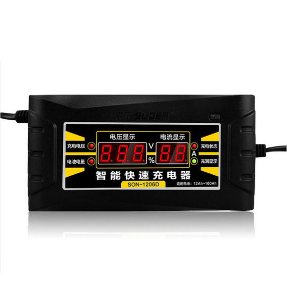 Full Automatic Car Battery Charger 110V/220V To 12V 6A 10A Smart Fast Power Charging For Wet Dry Lead Acid Digital LCD Display - JMOOREKNOWSBEST