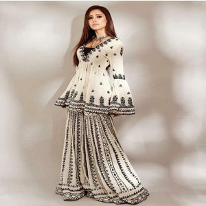 White-Black Georgette Embro Indo Dress