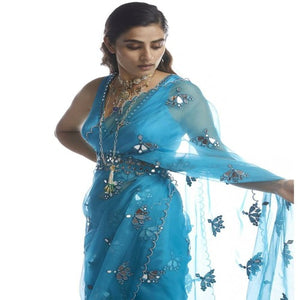 SkyBlue Organza CutWork Foil Work Saree