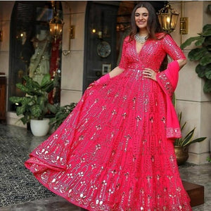 DarkPink Georgette Embroidered Gown