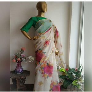 White-Silk Floral Organza Saree