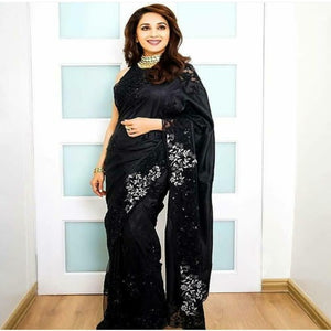 Black Crepe Embro Saree