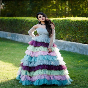 Multi Color Net Ruffle Gown