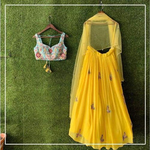 Yellow Georgette-Silk Embroidered Lehnga