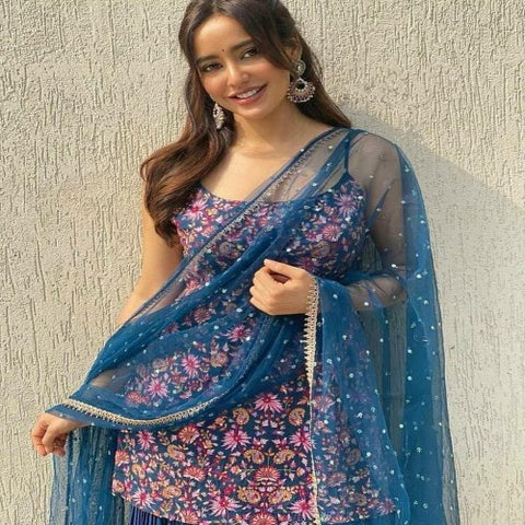 Blue Georgette Embro Sharara Suit
