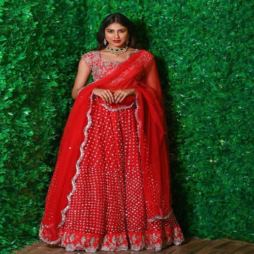 Red Net-Silk Embroidered Cancan Lehnga