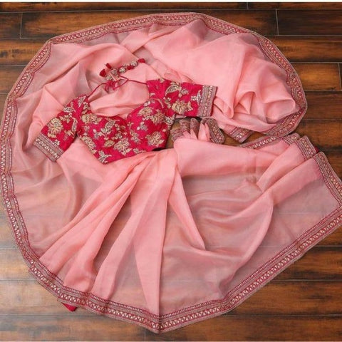 Pink Organza Embroidered Saree