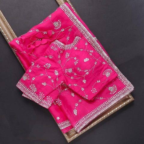 DarkPink Organza Embroidered Saree