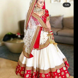 Red-White Mulberi Silk Embro Lehnga