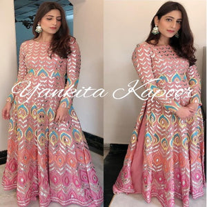 Peach Georgette Resham Work gown