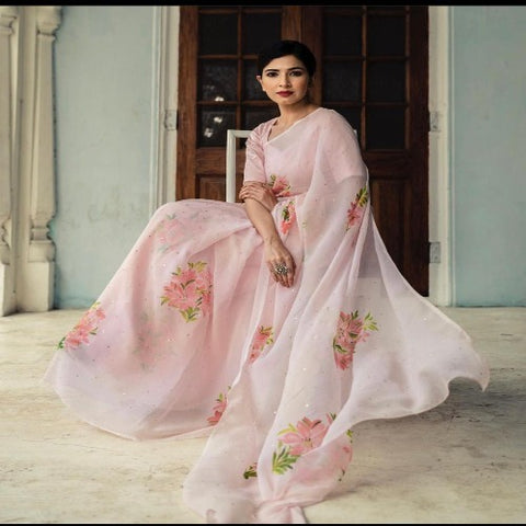 LightPink Organza HandWork Saree