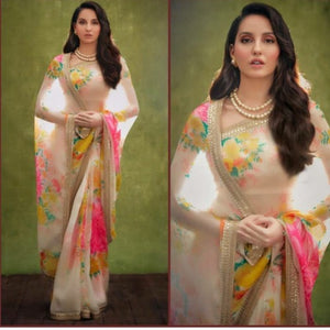 Beautifull Sabya Style White Floral Saree